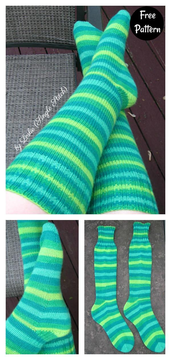 Basic Knee High Toe Up Socks Free Knitting Pattern