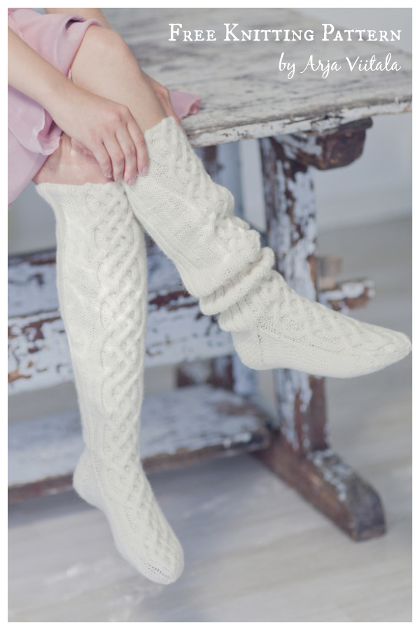 Cable Knee Socks Free Knitting Pattern