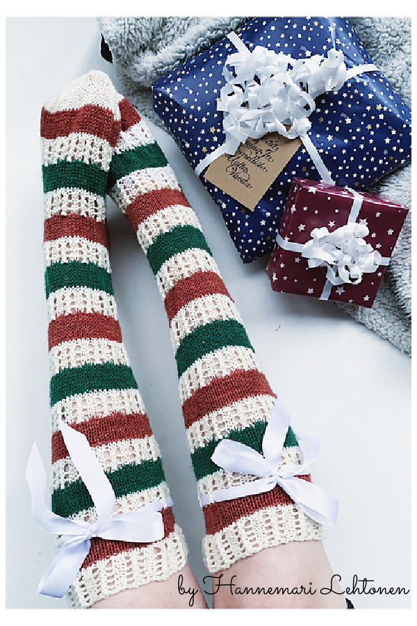 Christmas Knee High Lace Socks Free Knitting Pattern