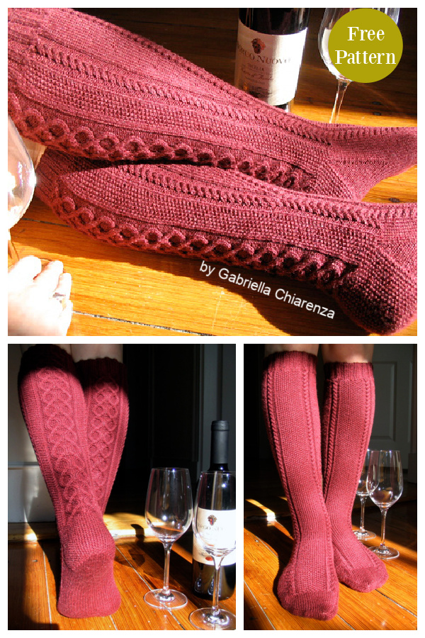 Clessidra Knee High Cable Socks Free Knitting Pattern