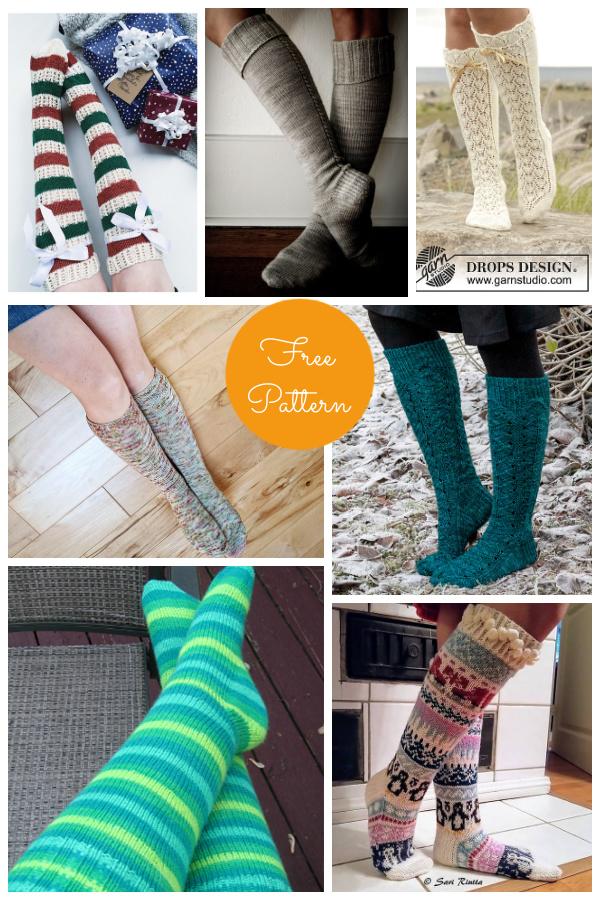 Knee High Socks Free Knitting Patterns