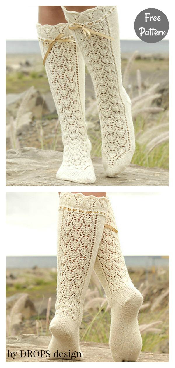 Lace Knee High Socks Free Knitting Pattern