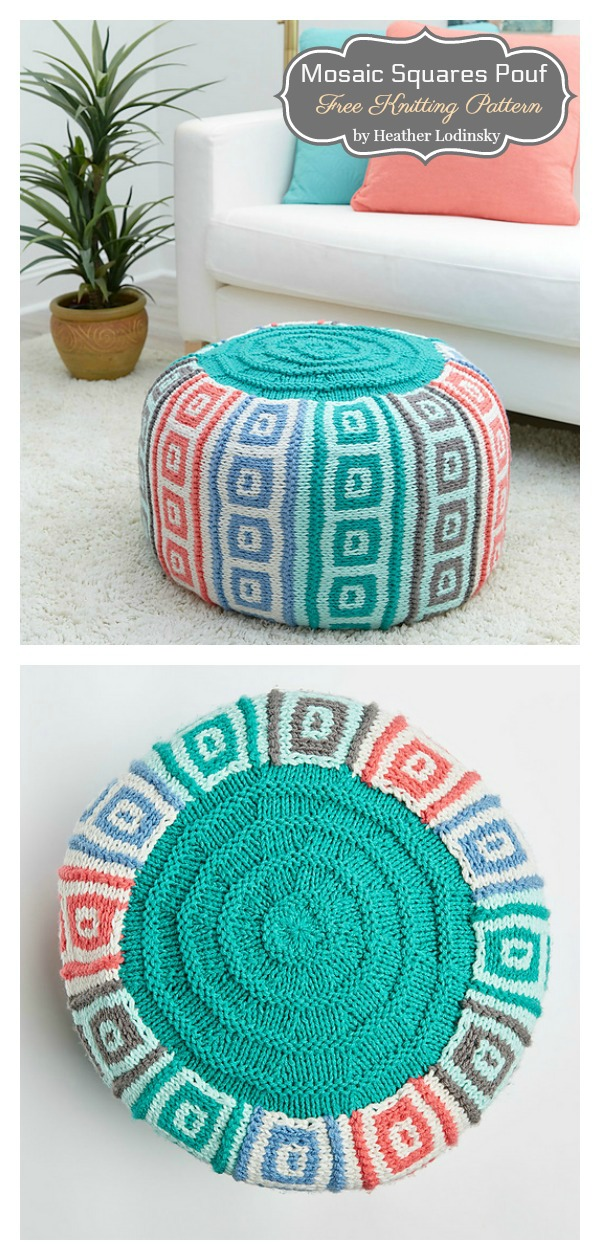 10 Floor Pouf Free Knitting Pattern and Paid