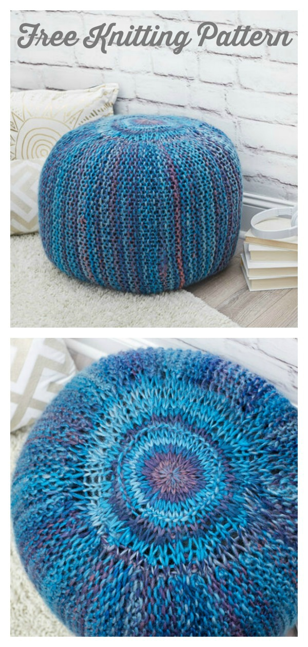 Pop of Color Floor Pouf Free Knitting Pattern