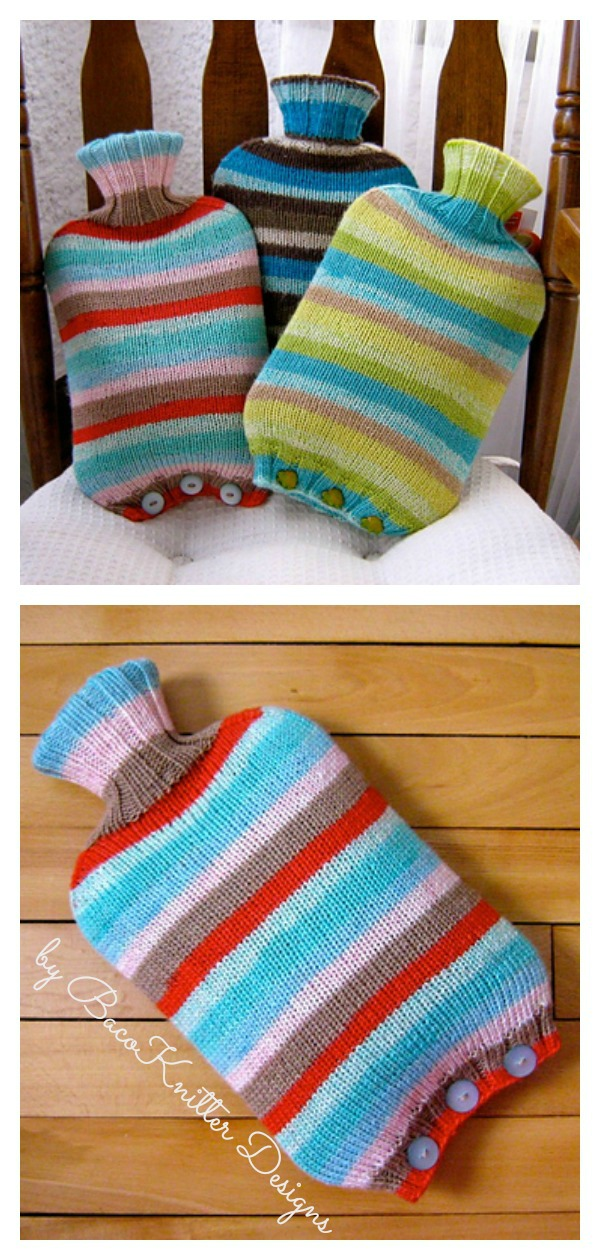 Simple Seamless Hot Water Bottle Cover Free Knitting Pattern