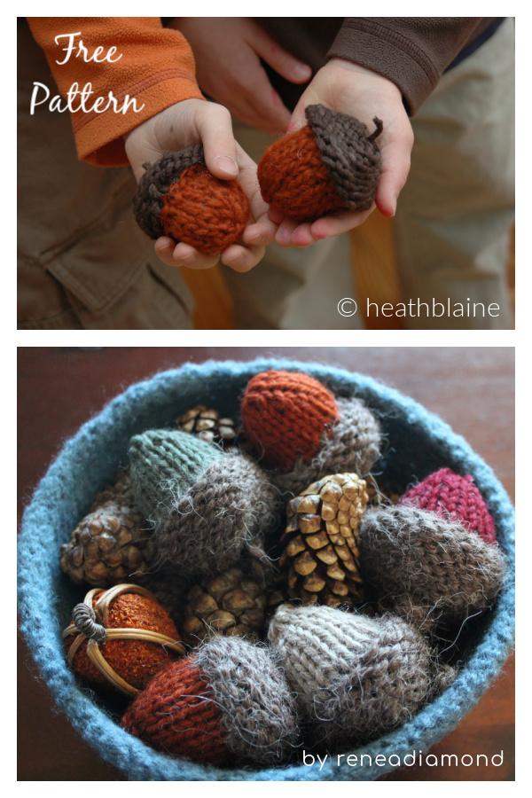Acorn Ornament Free Knitting Pattern