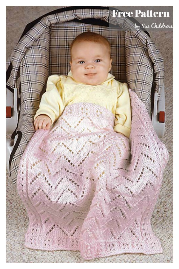 Baby's Car Seat Blanket Free Knitting Pattern