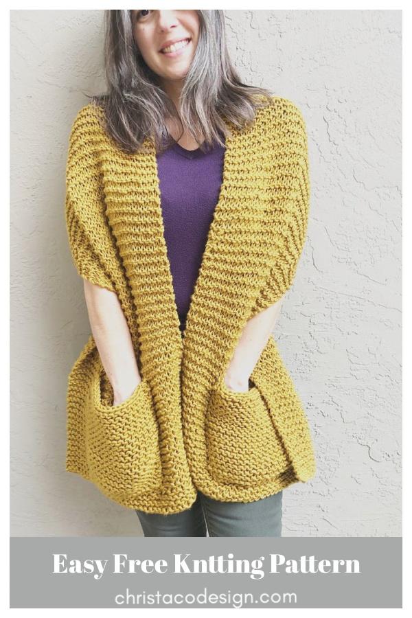 Easy Giana Pocket Shawl Free Knitting Pattern