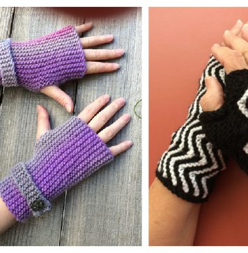 Garter Stitch Fingerless Mitts Free Knitting Pattern