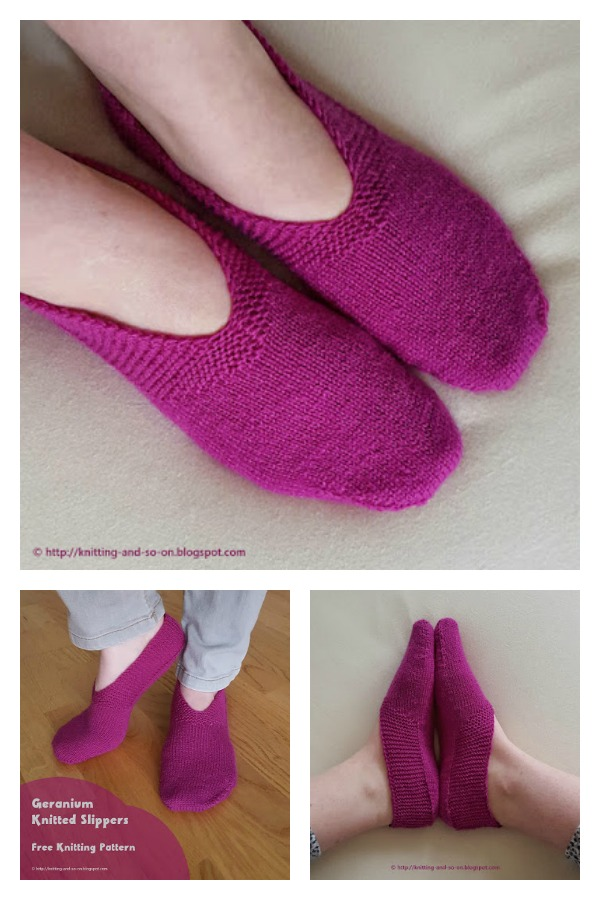 Geranium Slippers Free Knitting Pattern
