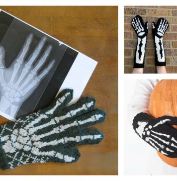 Halloween Skeleton Gloves Free Knitting Pattern