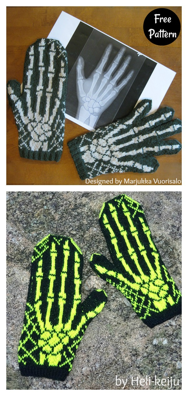 Halloween Skeleton Mittens X-Ray Free Knitting Pattern