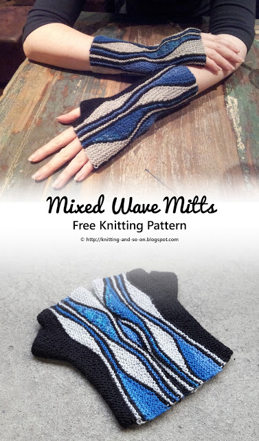 Mixed Wave Mitts Free Knitting Pattern