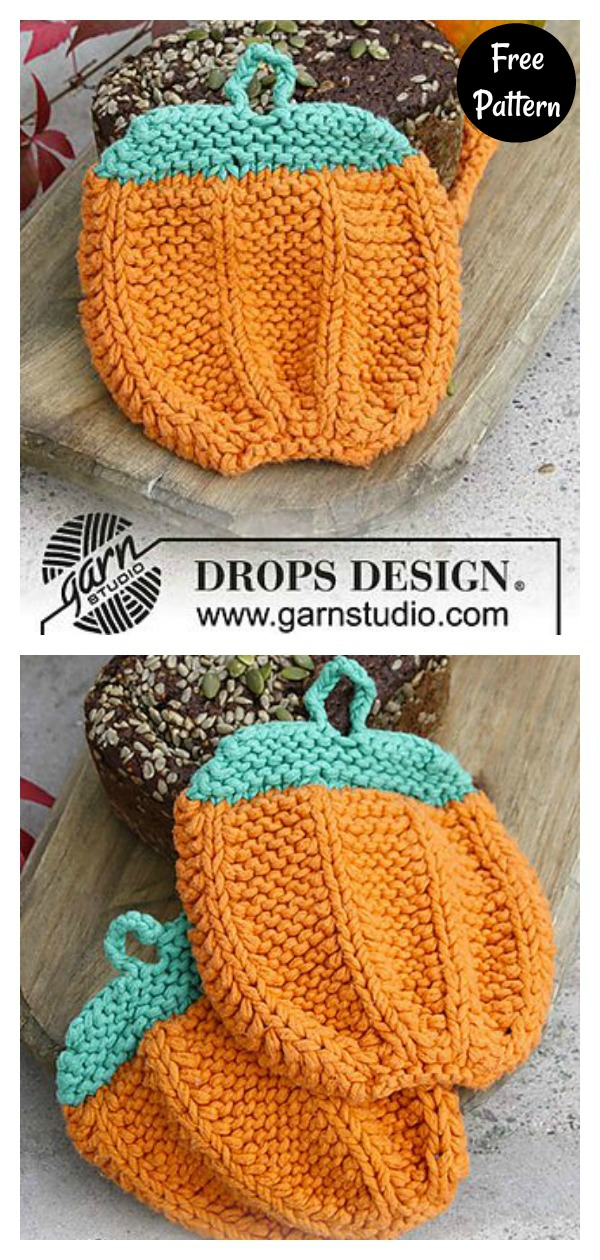 Pumpkin Pot Holders Free Knitting Pattern