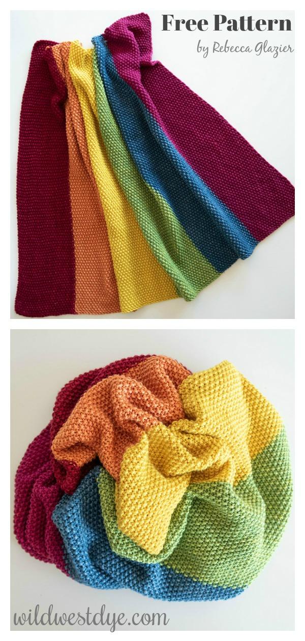 Rainbow Stroller Blanket Free Knitting Pattern