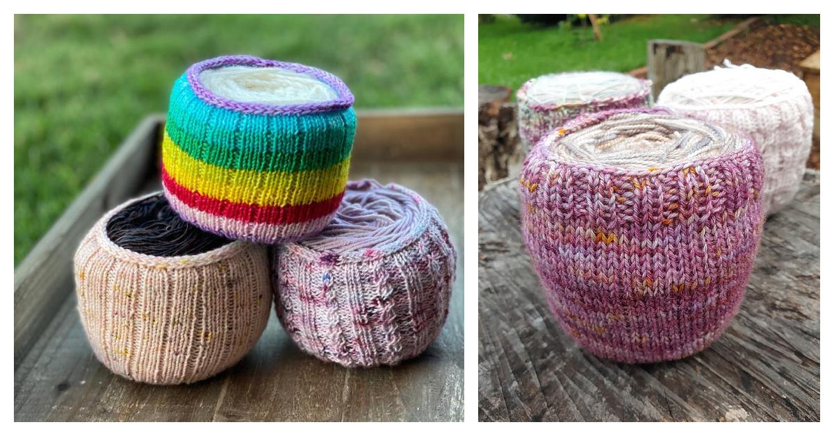 6 Yarn Cake Cozy Holder Free Knitting Pattern and Paid
