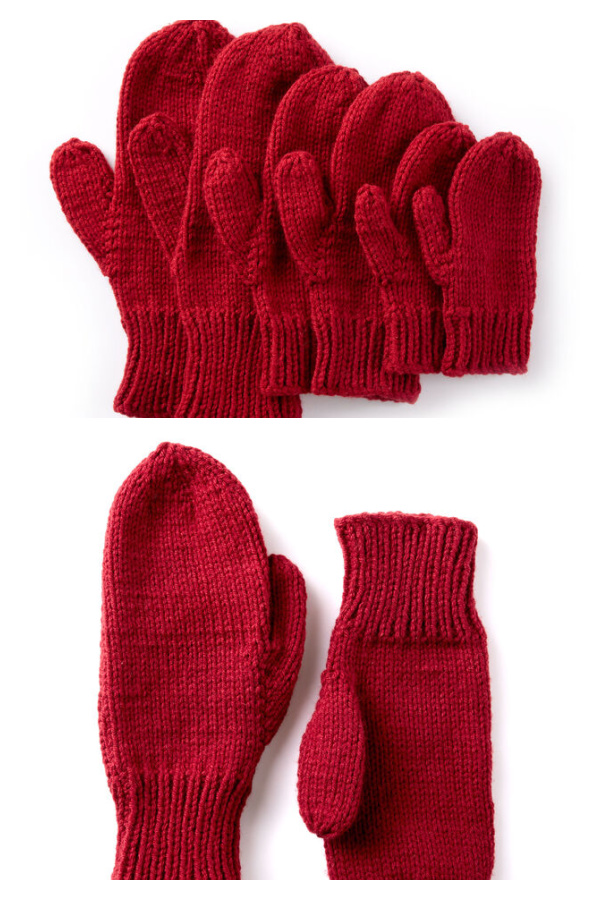 Basic Family Mittens Free Knitting Pattern