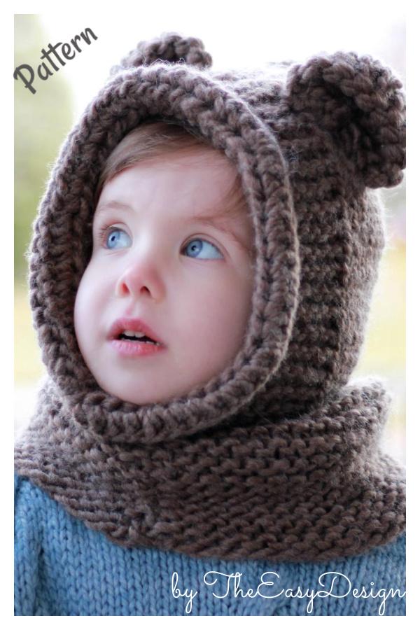 Bear Hooded Cowl Knitting Pattern