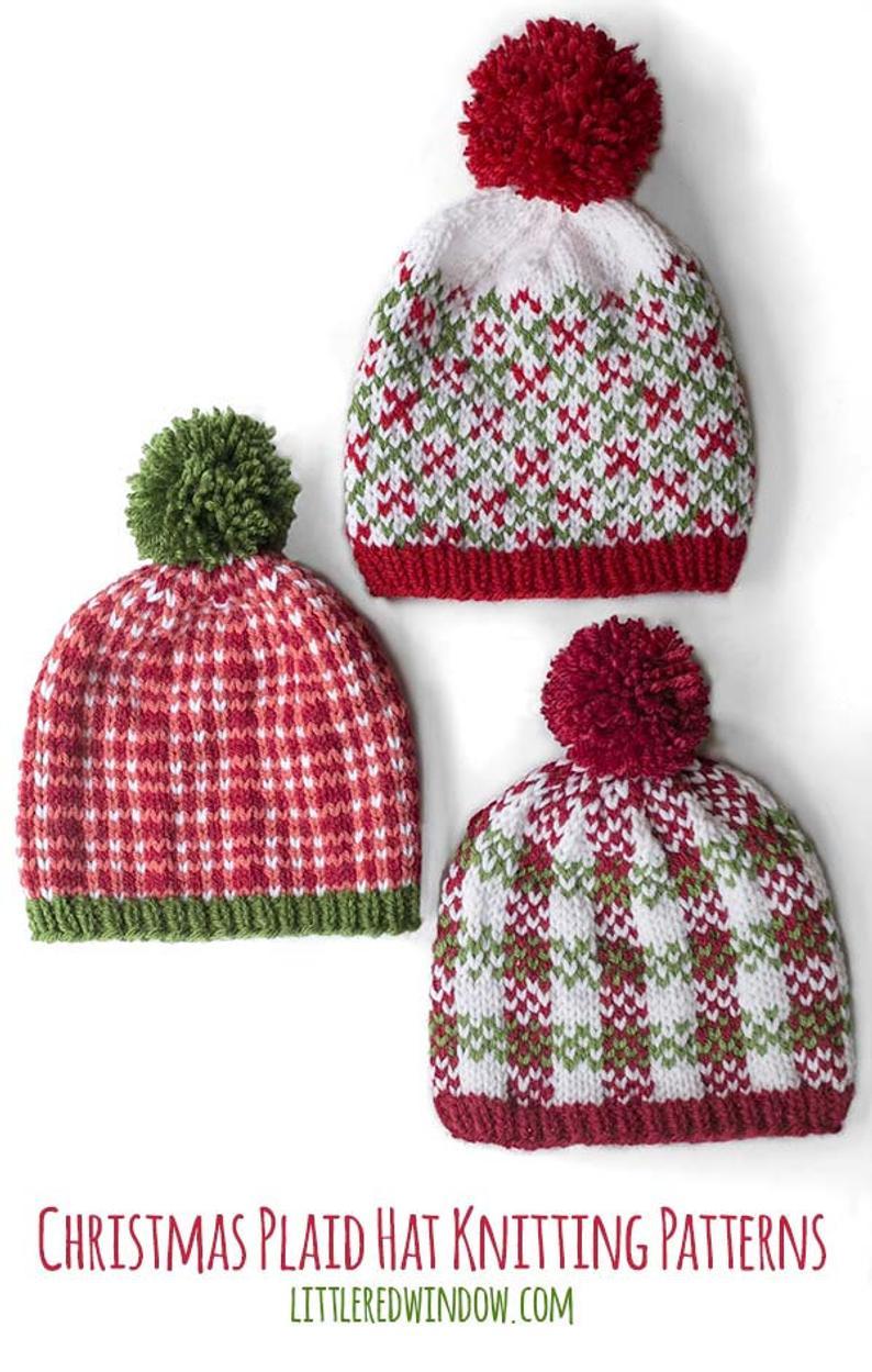Christmas Plaid Hat Knitting Pattern