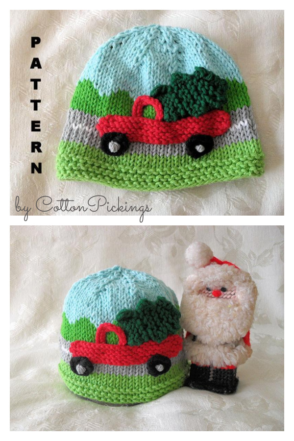 Christmas Tree Delivery Hat Knitting Pattern