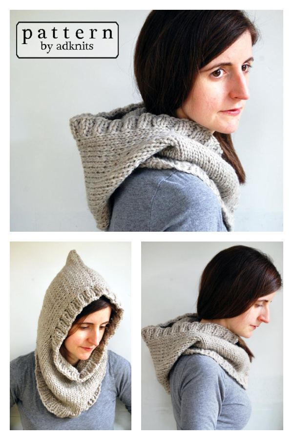 Chunky Hooded Cowl Knitting Pattern