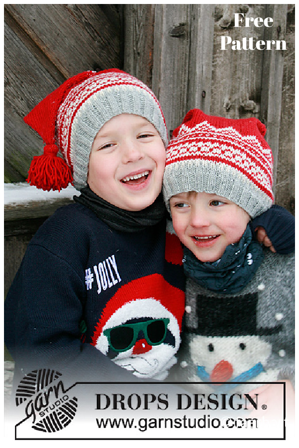 Double Trouble Christmas Hat Free Knitting Pattern