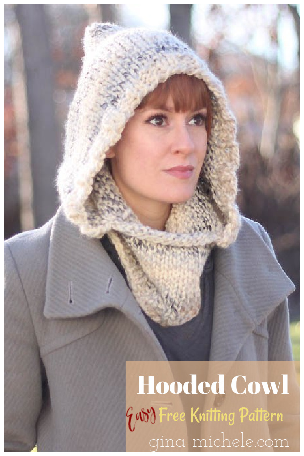 Easy Hooded Cowl Free Knitting Pattern