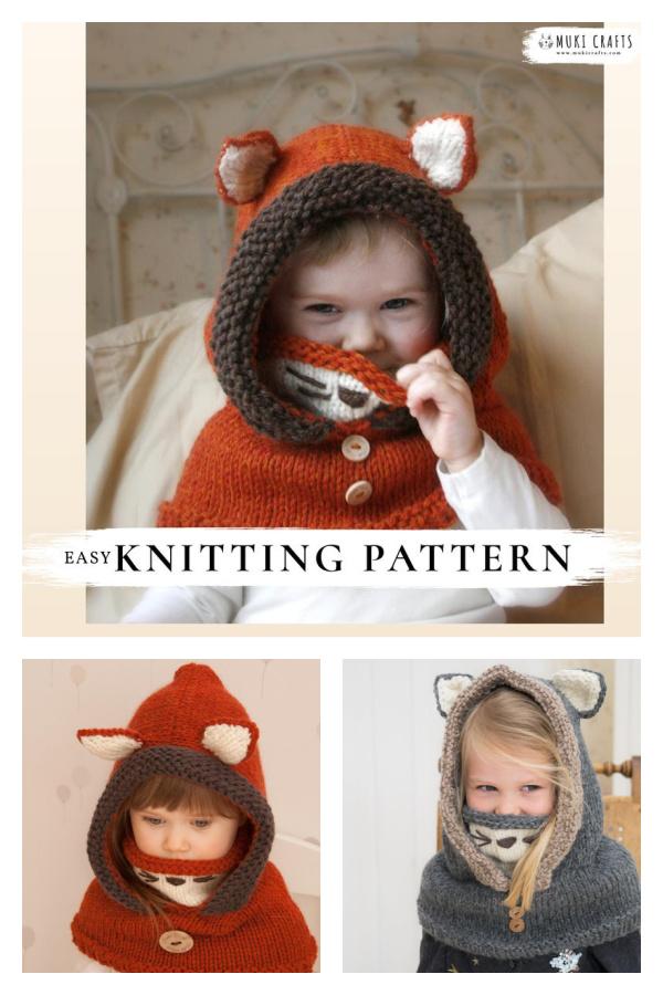 Fox Hooded Cowl Knitting Pattern