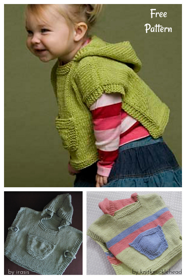 Hooded Baby Poncho Free Knitting Pattern