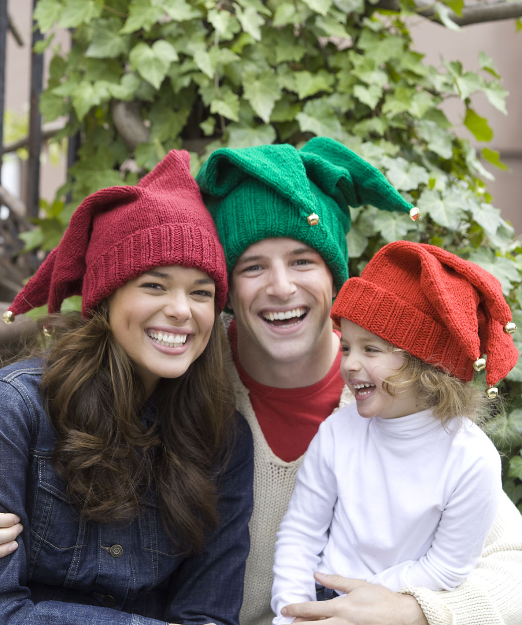 Jingle Bells Family Hats Free Knitting Pattern