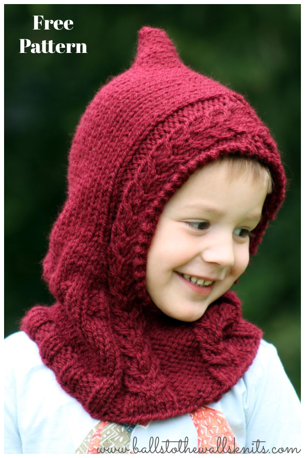 Little Red Hooded Cowl Free Knitting Pattern