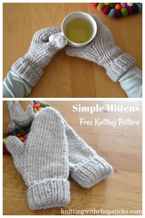 Simple Mittens Free Knitting Pattern