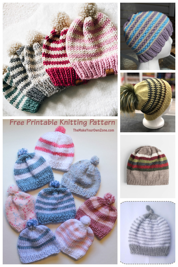 Simple Striped Hat Free Knitting Patterns