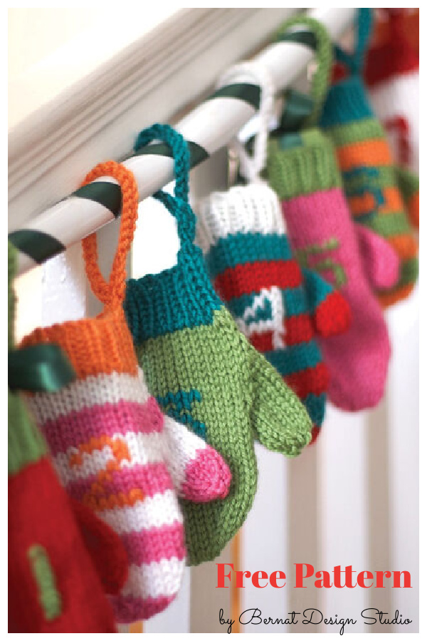 Advent Mini Mittens Free Knitting Pattern