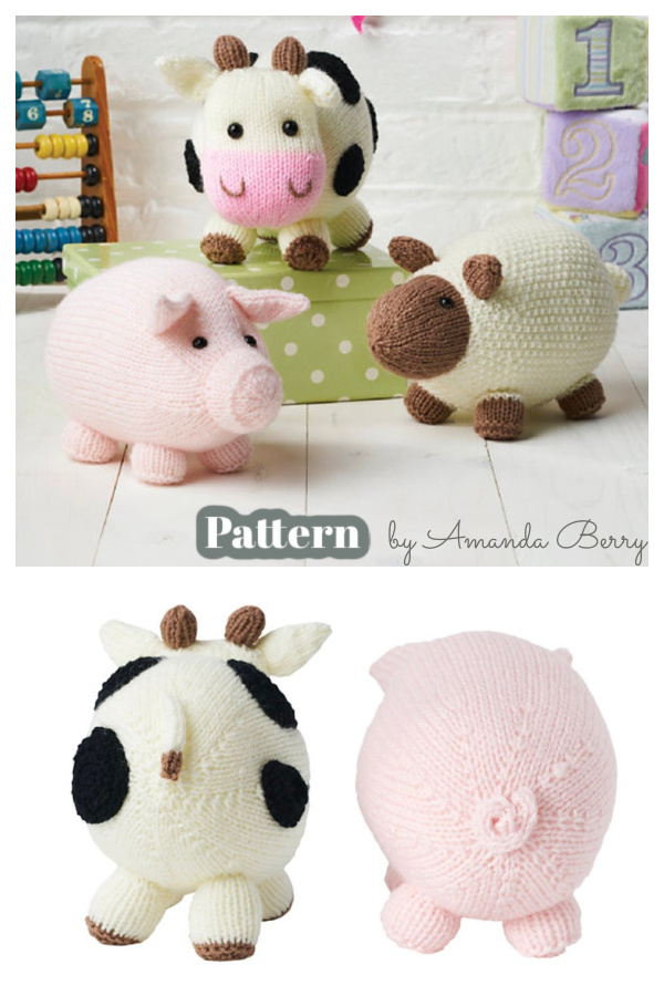 Amigurumi On The Farm Cow Sheep Pig Knitting Pattern