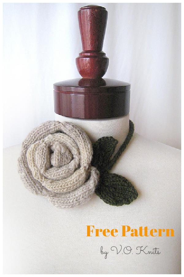 Blooming Rose Free Knitting Pattern