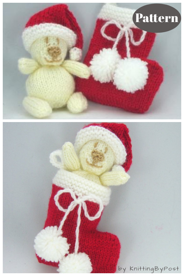 Christmas Bear and Stocking Knitting Pattern