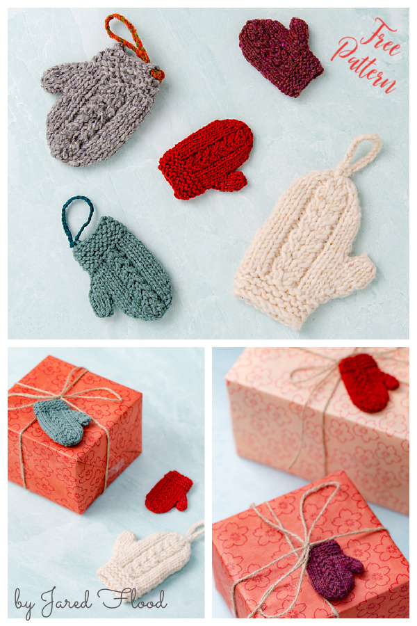 Christmas Mini Mitten Ornament Free Knitting Pattern