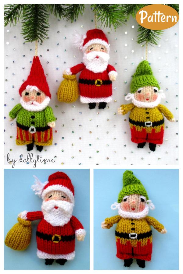 Christmas Santa Elf Gnome Ornament Knitting Patterns