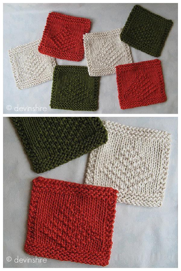 Christmas Tree Mug Rug Free Knitting Pattern