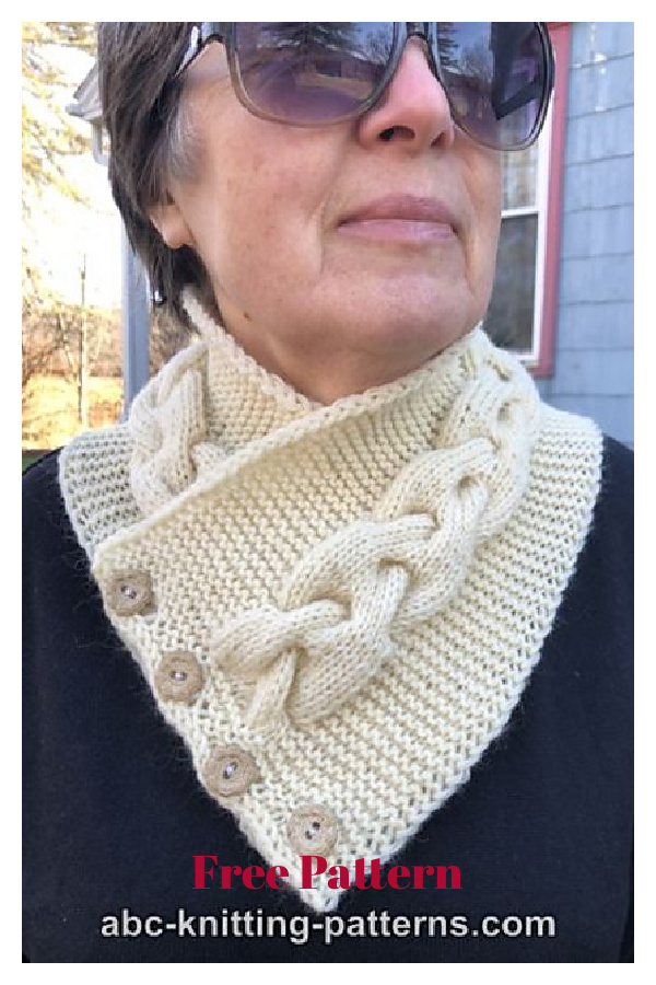 Cozy Button Cable Cowl Free Knitting Pattern