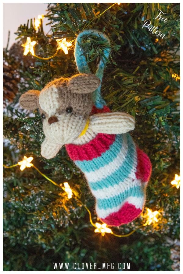 Dog in a Stocking Free Knitting Pattern