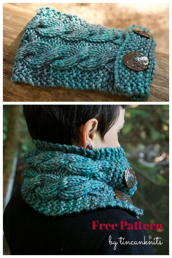 Easy Button Cable Cowl Free Knitting Pattern