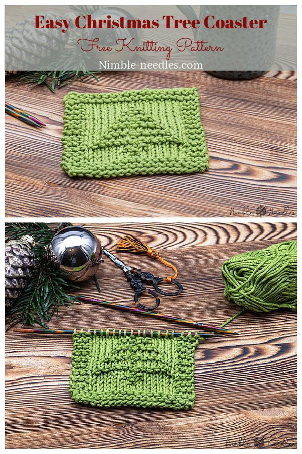 Easy Christmas Tree Coaster Free Knitting Pattern