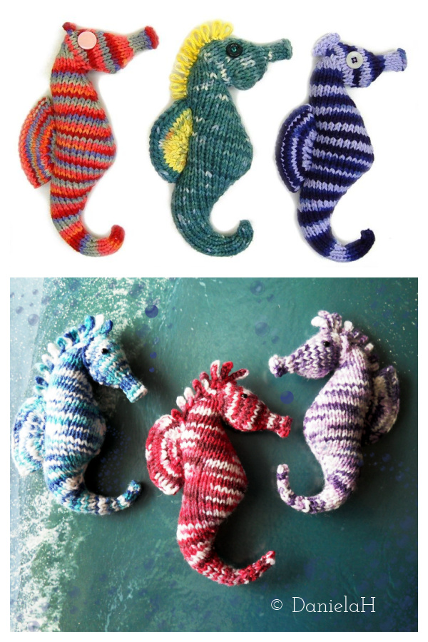 Flat Knit Seahorse Plush Amigurumi Toy Knitting Pattern