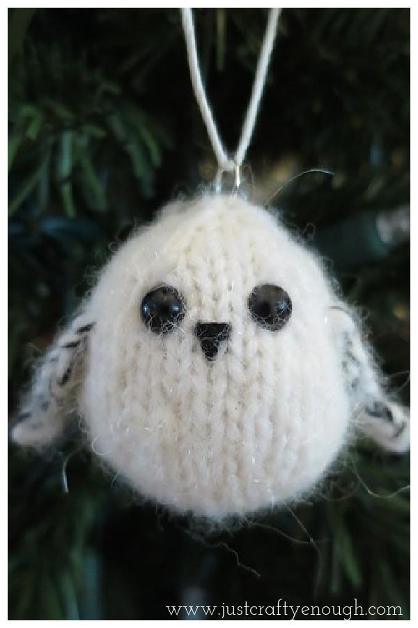 Little Snowy Owl Ornament Free Knitting Pattern