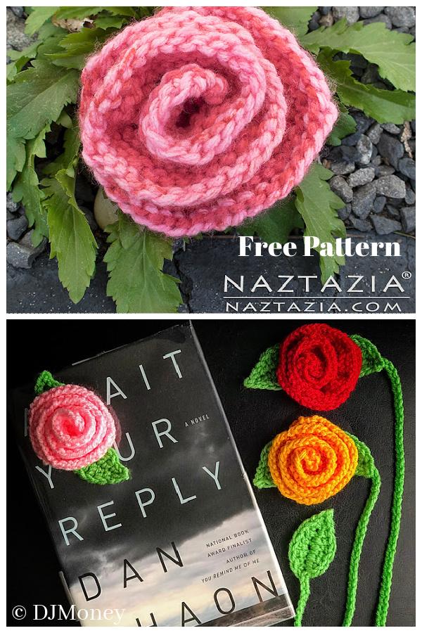 Rolled Rose Free Knitting Pattern