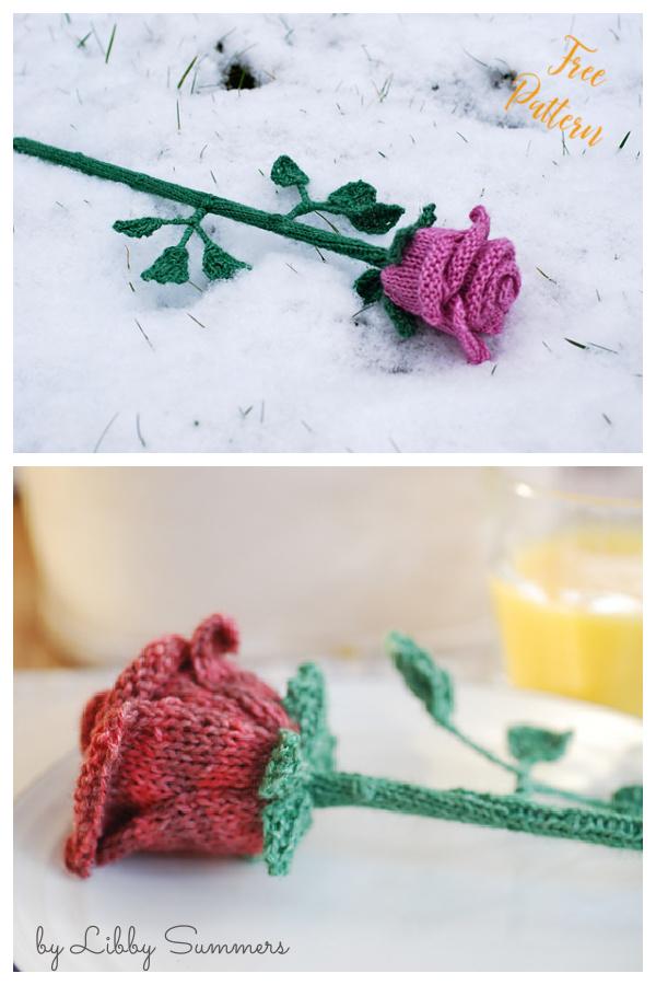 Rose Flower Free Knitting Pattern