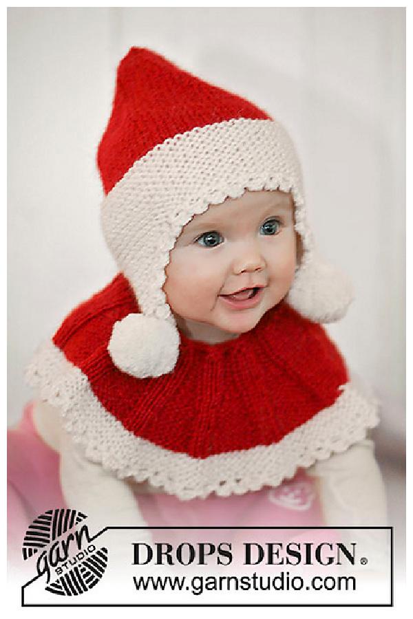 Santa Hat and Neck Warmer Free Knitting Pattern