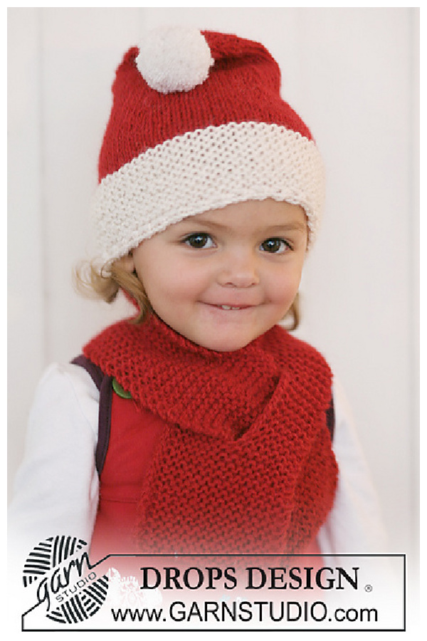 Santa Hat and Scarf Free Knitting Pattern